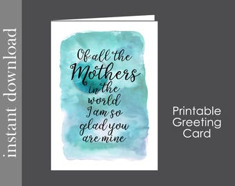 Mothers Day Card, printable mom card, adopted Mom card, sentimental card, mother birthday, diy mothers day, card download, foster mom card