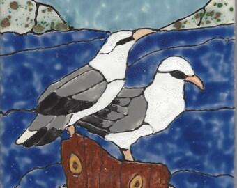 Sea Gulls Hand Painted Kiln Fired Decorative Ceramic Wall Art Tile 8 x 6