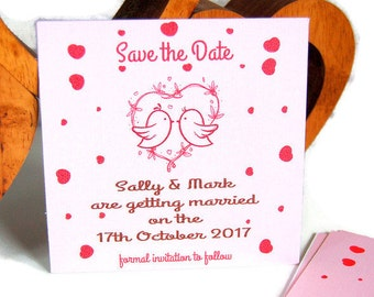 Save the date wedding cards, pink save the date cards, Wedding save the date, love birds save the date