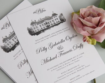 Black and White Luxe A5 Wedding Invitations
