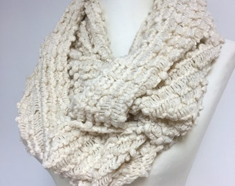 Oatmeal infinity Scarf for Spring, Neutral Cowl Scarf, Solid Color Loop Scarf,  Color Options