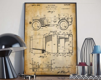 Willys Jeep Patent Print| Christmas Gift| Gift for Soldier| Army Art Poster| Office Decor| Military Gift| Jeep Poster| HPH189