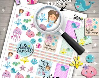 60%OFF - Mermaid Stickers, Printable Stickers, Ocean Stickers, Under the See Stickers, The Sea Stickers, Kawaii Stickers, Planner Accesories