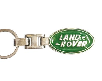Green Landrover Keychain Key Chain Stainless Steel Ring Chrome Silver