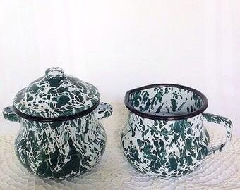 Vintage Green Swirl Graniteware Cream and Sugar Farmhouse