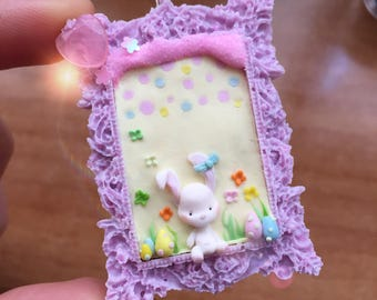 Easter Bunny cameo necklace in Fimo and resin