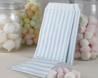 Blue and White Candy Striped Favour Bags, Favor Bags, Treat Bags, Party Treat Bags, Wedding Favours, Wedding Decorations, Party Supplies,