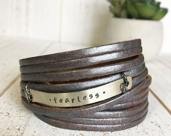 Leather Wrap Bracelet, Shredded, Metallic Pewter 'Fearless' soft leather, double wrap, adjustable
