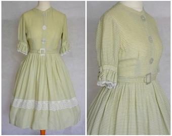 Vintage 1950s Green Patterned Lace Trim Dress size UK 10-12  S M