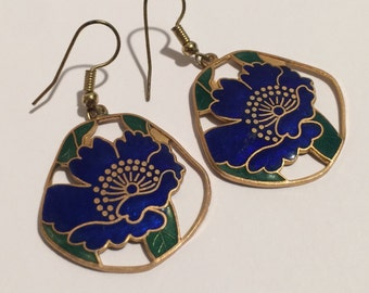 Vintage Floral Cloisonné Earrings