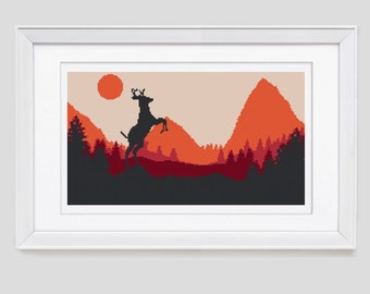 Deer cross stitch pattern, stag counted cross stitch pattern, stag modern cross stitch pattern, stag cross stitch pdf pattern