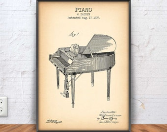 PIANO poster, piano patent print, piano blueprint, piano illustration, music decor, music art, musician, wurlitzer, piano teacher, #1062