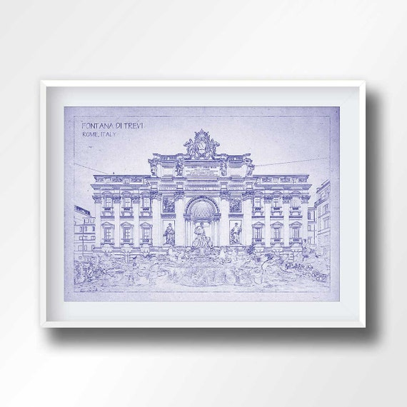 Fontana di trevi blueprint trevi fountain print trevi fontana di trevi blueprint trevi fountain print trevi fontana poster rome wall art rome decor travel italy travel gifts traveler6007 malvernweather Gallery