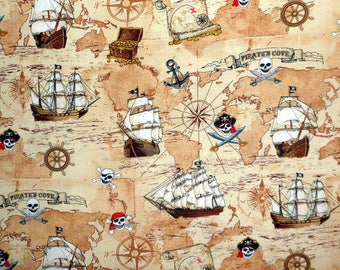 Timeless Treasures PIRATE Cove - Tan Pirate Map Fabric  Fun 4825