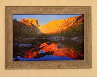 Rocky Mountain National Park Dawn At Dream Lake With Custom Barnwood Frame Featuring Colorado Fine Art Nature Photography From The Rockies