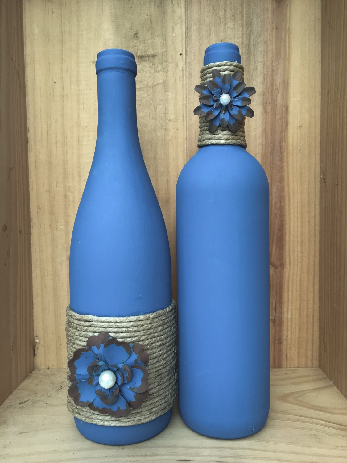Denim blue colored wine bottle with twine and painted metal for Where to buy colored wine bottles