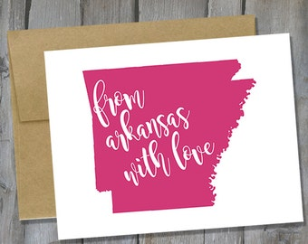 Customizable From Arkansas With Love Notecard Set of 12 - Arkansas Note Card Set - Stationary Set