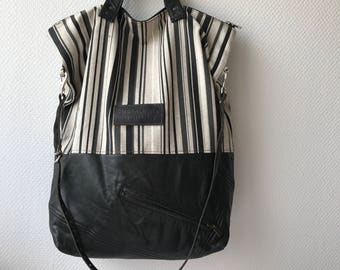 Leather and cotton tote bag, handbag, shoulder bag, crossbody bag