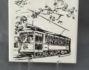 "New Orleans Streetcar on St.Charles Ave. 6"" x 6"" Porcelain Trivet"
