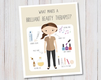 Beauty Therapist art print INSTANT DOWNLOAD professions, anatomy of a beautician