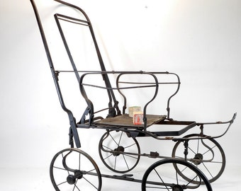 Antique Baby Stroller, Old Baby Carriage, Baby Buggy Frame for Prop Display, Restoration or Upcycle Project