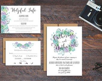 Succulent Wedding Invitation Suite - Printable Wedding Invitation Suite, DIY Wedding Invitation, Summer Wedding, Spring Wedding, Succulents