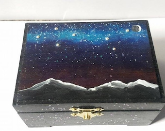Galaxy Jewelry Box MilkyWay Jewelry Box Galaxy Box Galaxy Keepsake Box Galaxy Art Milky Way Art Galaxy Painting Night Sky Painting