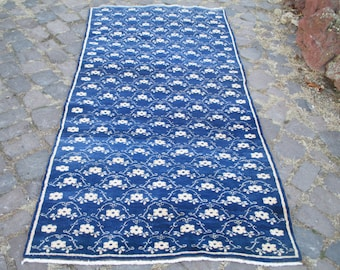 VINTAGE Oushak Tribal Turkish Handwoven Wool  Rug Carpet 95x47 inches
