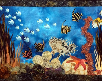 Art Quilt, Original Fiber Art Wall hanging,  Seascape Full of  Life, Hand dyed Fabric, Fabric Art, Fish, Ocean scene, coral reef