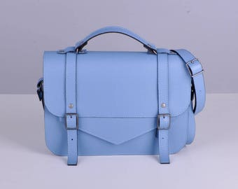 Leather satchel with a long strap