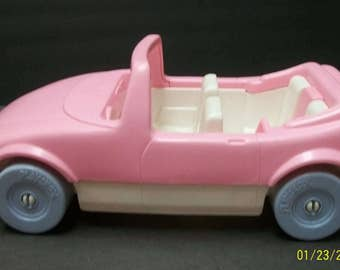 1992 Playskool Pink Convertible Car Dollhouse Family With Built In Car Seat - Opening Rear Trunk Almost 12 inches Long, 6 Inches Wide