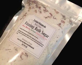 Bath Soak| Bath Salt| Fizzing bath soak| bath tea| bath bomb dust|moisturizing bath soak| Rose and Hibiscus fizzing bath sugar