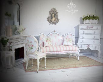 Dollhouse Miniature Shabby Chic Sofa and Chair, 1:12, OOAK, Pale Blush Pink and White, Bespaq Chair, Several Coordinating Fabrics and Trim