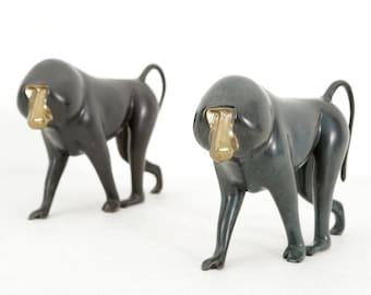 Set of Bronze Baboon Sculptures by Loet Vanderveen