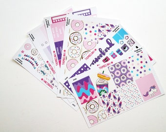 Doughnuts & Unicorns Full Weekly Kit Planner Stickers for Erin Condren Life Planner and more (K39)