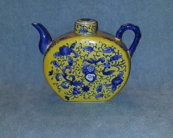 Asian Tea Pot - Tea Pot Blue and Yellow - Floral Theme