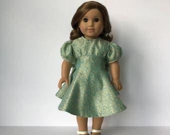 American Girl Doll Silk Brocade 30's Flared Dress with Sash