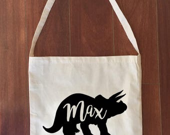 Personalized Dinosaur Library Bag Calico