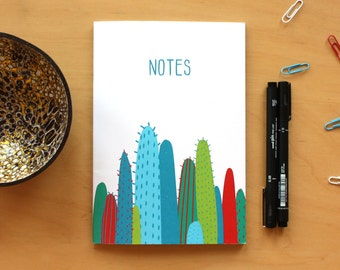 Cactus Notebook, Cacti Notepad, Colourful Diary, Lined Journal, Desert Notebook, Illustrated Diary, Quirky Stationary, A5 Notebook