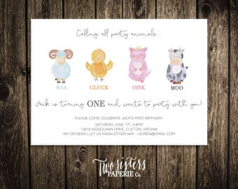 PARTY ANIMALS BIRTHDAY Invitation - First Birthday Invitation - Farm Birthday Invitation - Farm Animals Birthday Invitation