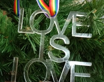 Pride, Love is Love,  personalised Christmas decoration, same sex couple, wedding decoration, mr and me, mrs and mrs, gay couple,