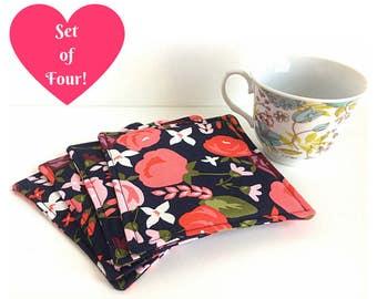 Housewarming Gift, Fabric Coasters, Mug Rug, Set of Four Coasters, Floral Coaster Set