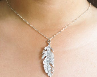 Silver Feather & Pave Crystal Necklace