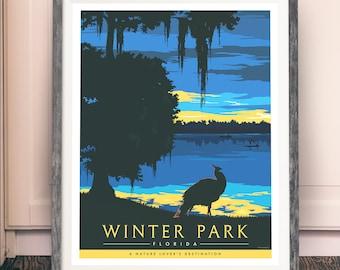 Dusk on Lake Virginia, Winter Park - Fine Art Print Glicee Poster - LIMITED EDITION