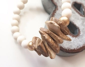 Wood Chip Beaded Bracelet - Beaded Bracelet - Wood Bracelet