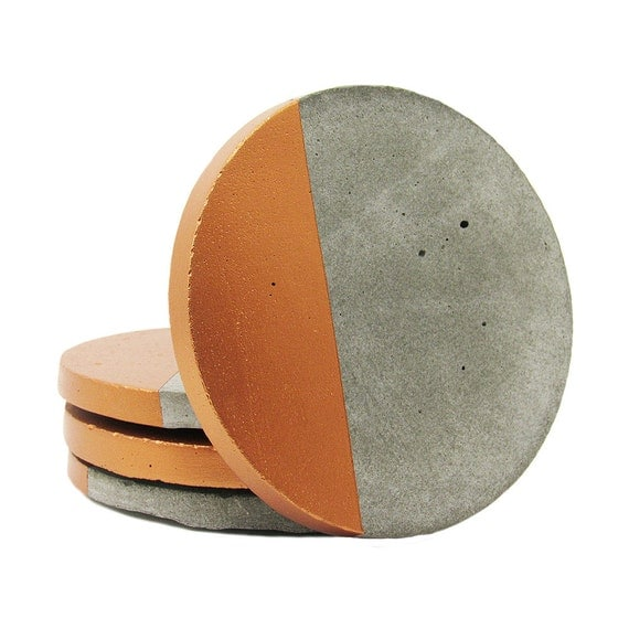 Concrete coasters modern coasters drink coasters cement for How to make concrete coasters