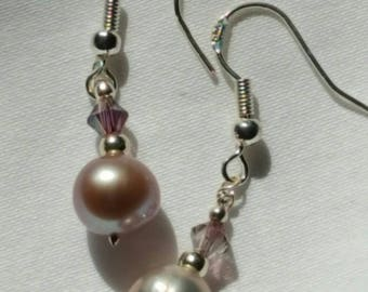 Sterling silver and deep lavender freshwater pearl drop earrings with genuine swarovski crystals