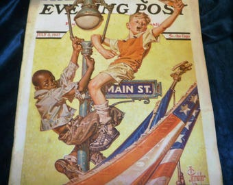 1937 The SATURDAY EVENING POST Magazine from July 3, 1937 in Very Good condition Carl Hubble Baseball & 12 Full Page colored advertisements