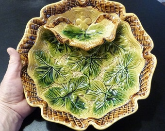 Antique Majoilca or Barbotine Strawberry and Cream bowl. Wasmuel Majolica Strawberry bowl circa 1880-1914