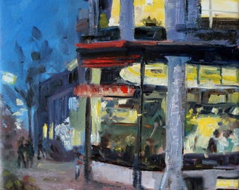"""cityscape oilpainting of the Hague, """"dining in the Hague"""", 8x8 inch, 20x20 cm, oil on stretched canvas"""